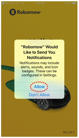 Allow Notifications Screen for Robomow App 2.0